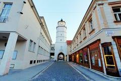 Stadstoren in Trencin - Slowakije stock afbeelding