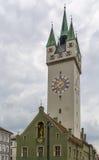 Stadstorn, Straubing, Tyskland Arkivbild