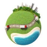 Stadsvägar för planet 3D Royaltyfri Bild
