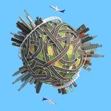 Stadsvägar för planet 3D Arkivbild