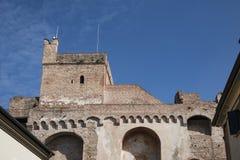 Stadsvägg med tornet i Cittadella, Italien royaltyfri bild