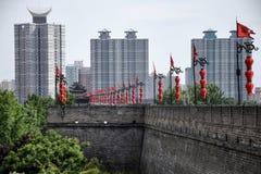 Stadsväggar i XiÂ'an, Shaanxi landskap, Royaltyfri Foto
