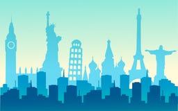 stadsvärld vektor illustrationer