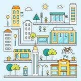 Stadsöversikt med gator, byggnader och den kulöra illustrationen för ställevektoröversikt Royaltyfria Bilder