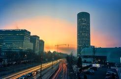 Stadsvibe på arbetsdagen, Bucharest, Rumänien Royaltyfri Bild