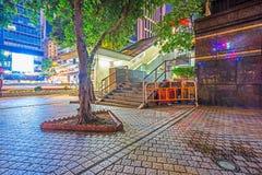 Stadsvierkant bij nacht in Hong Kong Royalty-vrije Stock Fotografie