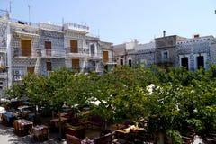 Stadsvierkant in pyrgi, Griekenland Royalty-vrije Stock Foto