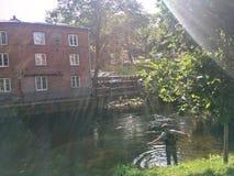 Stadsvlieg die in Oslo, Noorwegen vissen Stock Foto's