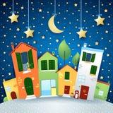 Stadsweg in beeldverhaalstijl, 's nachts Stock Foto