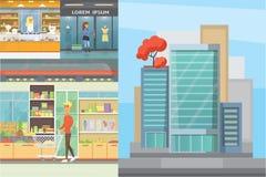 Stadswinkelcentrum, de binnen binnenlandse vloeren van de boutiquegalerij met lopende klanten Winkelcentrum de bouwbuitenkant stock illustratie