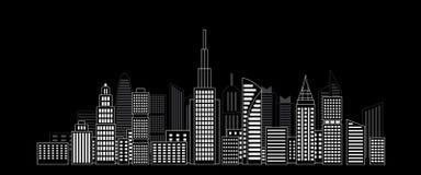 Stadswolkenkrabbers in de donkere nacht Stock Afbeelding