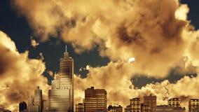 Stadswolkenkrabbers en de tijdtijdspanne van de zonsondergang bewolkte hemel 4K stock video