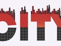 Stadswoord met geometrische cijfers in de stijl van Bauhaus Retro affiche Typografische banner met architectuur Vector Stock Afbeelding