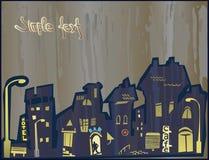 Stadt ââdoes nicht Schlaf nachts. Regen stock abbildung
