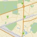 Stadt †‹â€ ‹Karte mit Straßen, Parks und ZeigerTankstelle Stockfotos