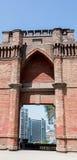 Stadt über den Schlosshidalgo-Wänden hinaus Lizenzfreies Stockbild
