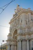 Stadt ACROs DA Rua Augusta Architecture Monument Historic Landmark Lizenzfreie Stockbilder