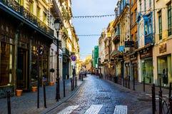 Stadt-alte Einkaufsstraßen und -gebäude Lilles Lizenzfreies Stockfoto