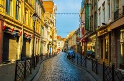 Stadt-alte Einkaufsstraßen und -gebäude Lilles Lizenzfreies Stockbild