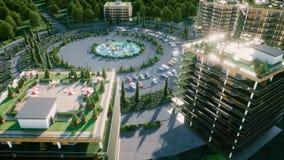 Stadt, Stadt-Architektur-Sichtbarmachung 3d Schattenbild des kauernden Geschäftsmannes Wiedergabe 3d stock abbildung