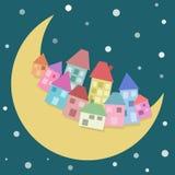 Stadt auf dem Mond lizenzfreie abbildung