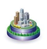 Stadt auf einer runden Unterseite Lizenzfreie Stockfotografie