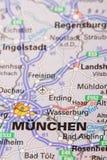 Stadt auf Karte Stockfotografie
