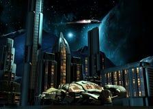 Stadt auf Mond Stockfotografie