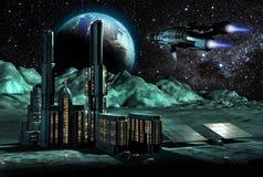 Stadt auf Mond Lizenzfreies Stockbild