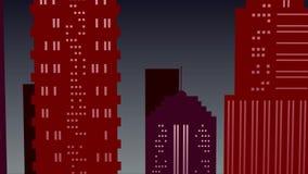Stadt auf Nachthintergrund mit Vollmond in den roten Farben stock footage