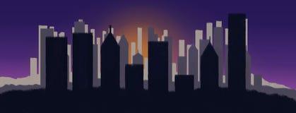 Stadt auf Sonnenuntergang Stockfotografie