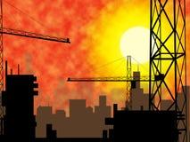 Stadt-Bau zeigt das Konstruieren konstruiert und das Errichten an stock abbildung