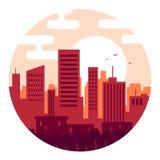 Stadt bei Sonnenuntergang der Tag in den warmen Farben vektor abbildung