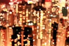 Stadt beleuchtet großes abstraktes Kreis-bokeh Stockfoto