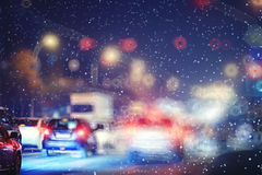 Stadt beleuchtet Nacht Lizenzfreie Stockbilder
