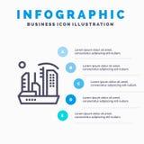 Stadt, Besiedlung, Kolonie, Haube, Expansions-Linie Ikone mit Hintergrund infographics Darstellung mit 5 Schritten lizenzfreie abbildung