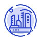 Stadt, Besiedlung, Kolonie, Haube, Linie Ikone der Expansions-blauen punktierten Linie vektor abbildung