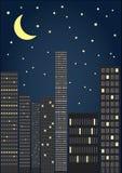 Stadt bis zum Nacht stock abbildung