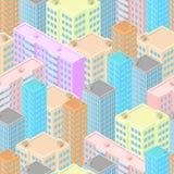 Stadt in der isometrischen Ansicht Nahtloses Muster mit bunten Häusern Lizenzfreie Stockbilder