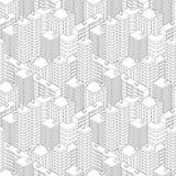 Stadt in der isometrischen Ansicht Nahtloses Muster mit Häusern Lizenzfreie Stockfotos