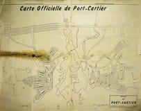 Stadt der offiziellen Karte des Port-Cartier im Jahre 1962 Stockfotos