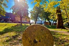 Stadt der Park- und Straßenansicht Virovitica Lizenzfreies Stockfoto