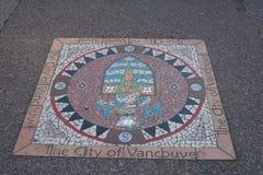 Stadt der Vancouver-Dichtung im Bürgersteig Lizenzfreie Stockfotografie
