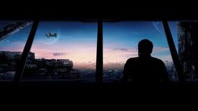 Stadt der Zukunft mit Flugautos und Raumschiffen stock abbildung
