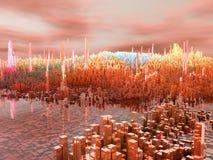 Stadt der Zukunft, Wolkenkratzer, Zukunftsromane Stockfotos