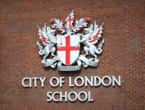 Stadt des London-Schulzeichens Stockfoto