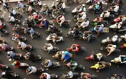 Stadt des Motorradtransportes Stockfotos