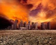 Stadt, die desolate Landschaft übersieht Stockbilder