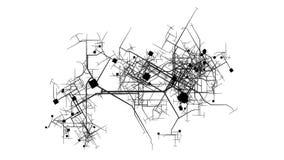 Stadt, die mit einer Vogelperspektive in 2d wächst stock footage