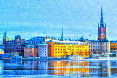 Stadt-Digital-Malerei Stockholms alte Stockfotografie